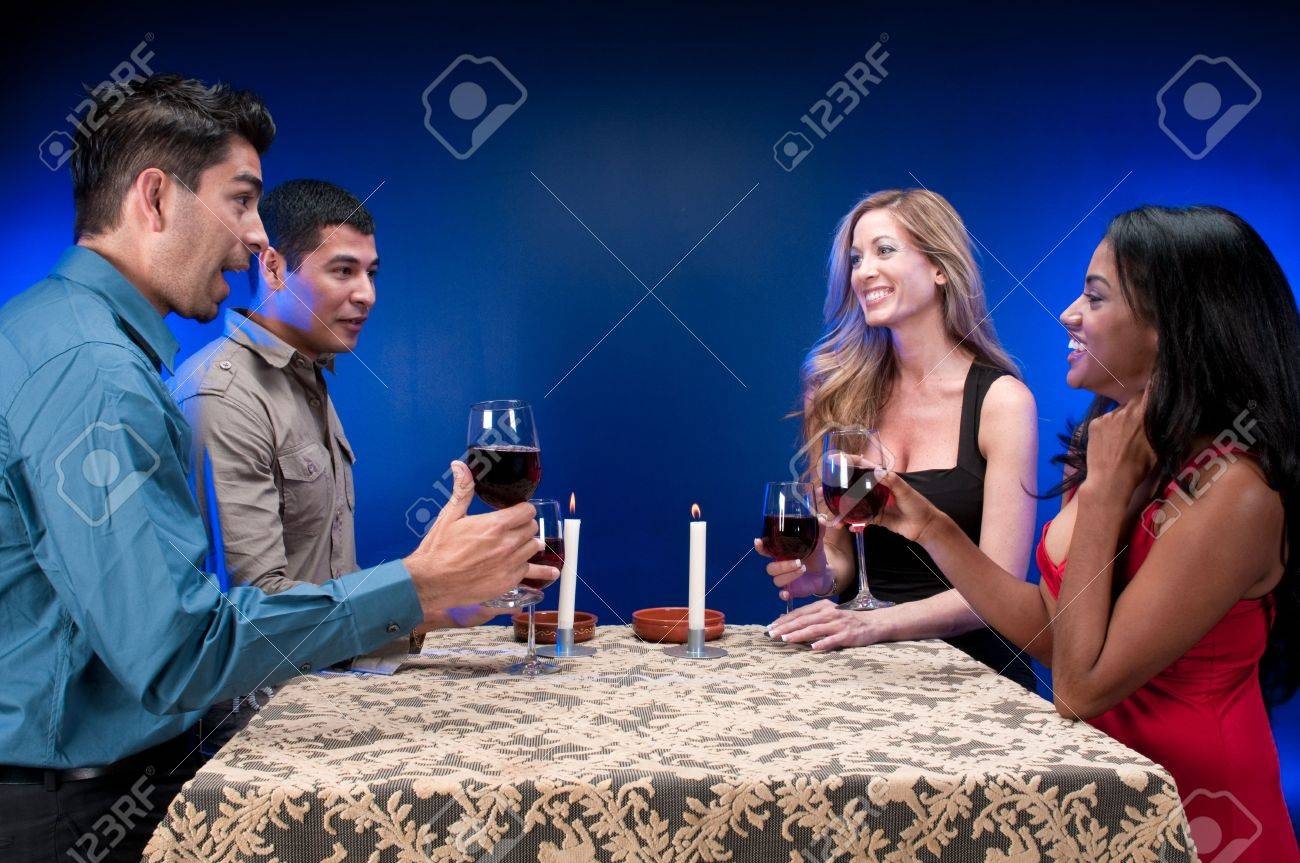 Group of friends drinking wine and celebrating. Stock Photo - 4926627