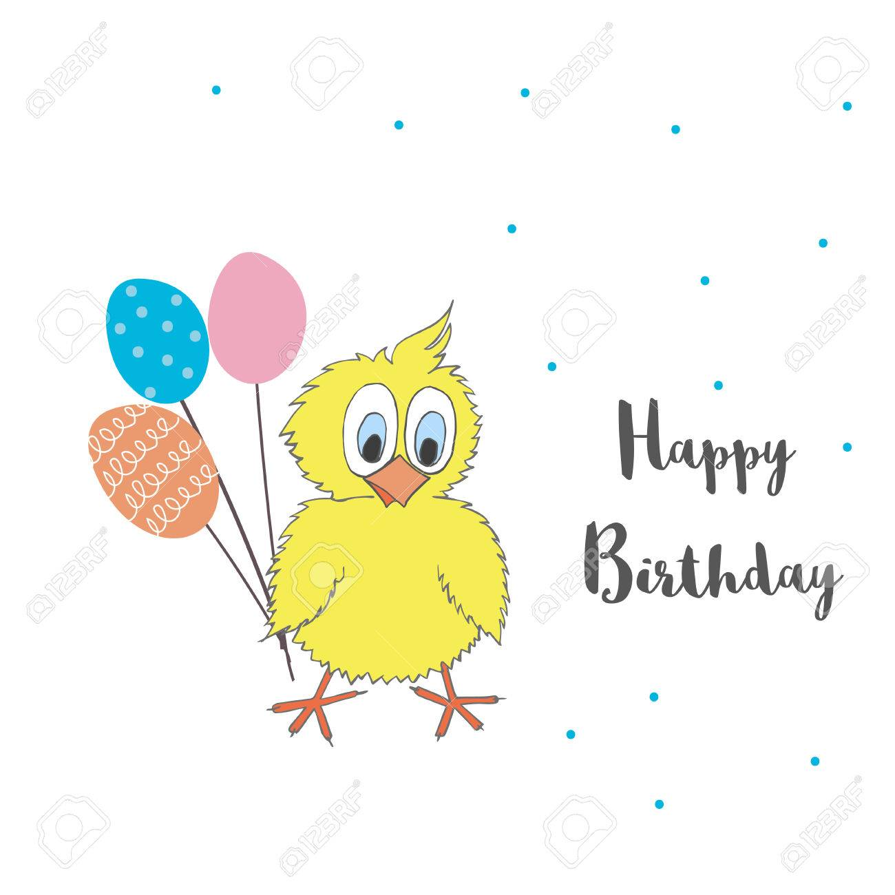 cute little chicken with balloons and words happy birthday vector
