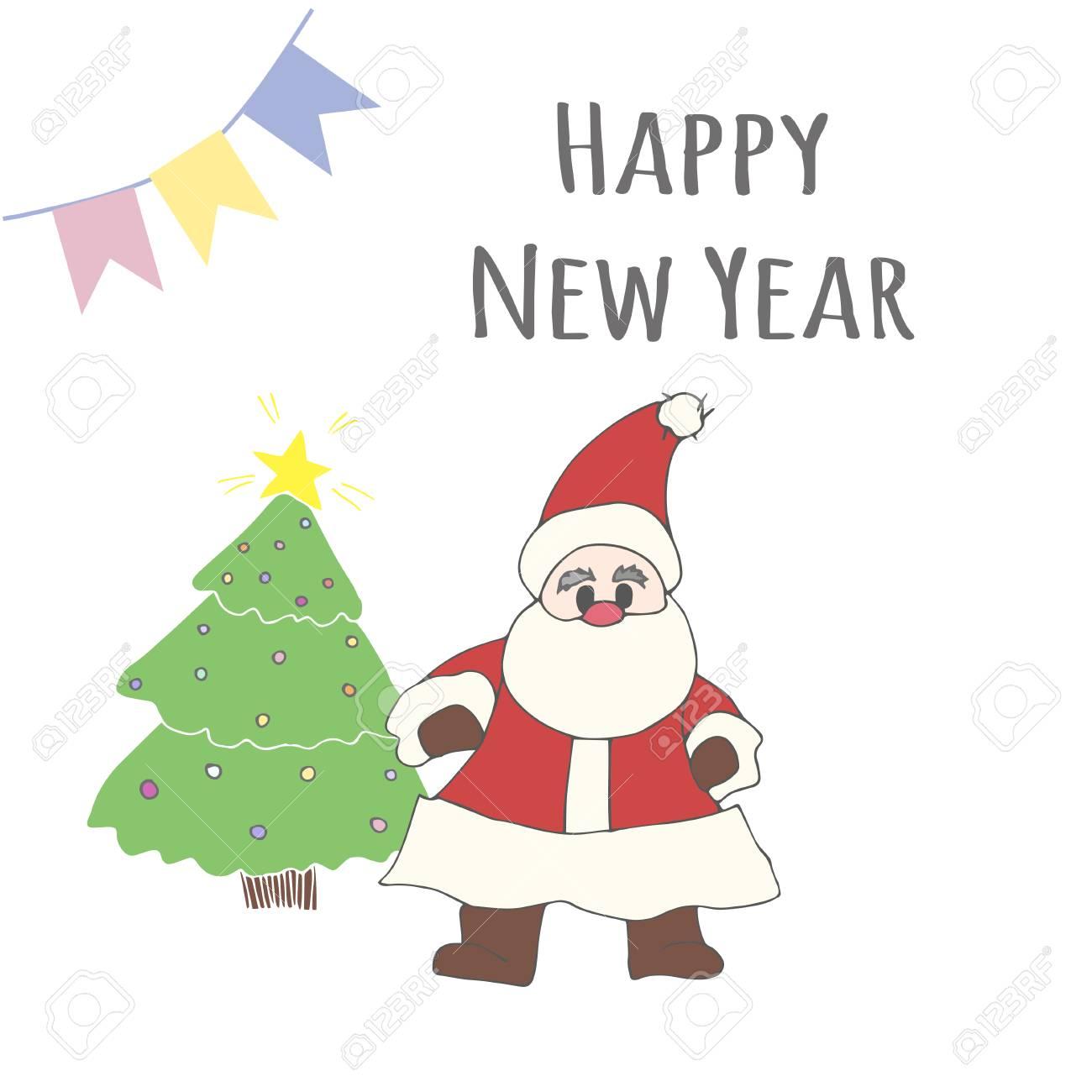 Santa Claus Und Weihnachtsbaum Mit Worten Frohes Neues Jahr ...