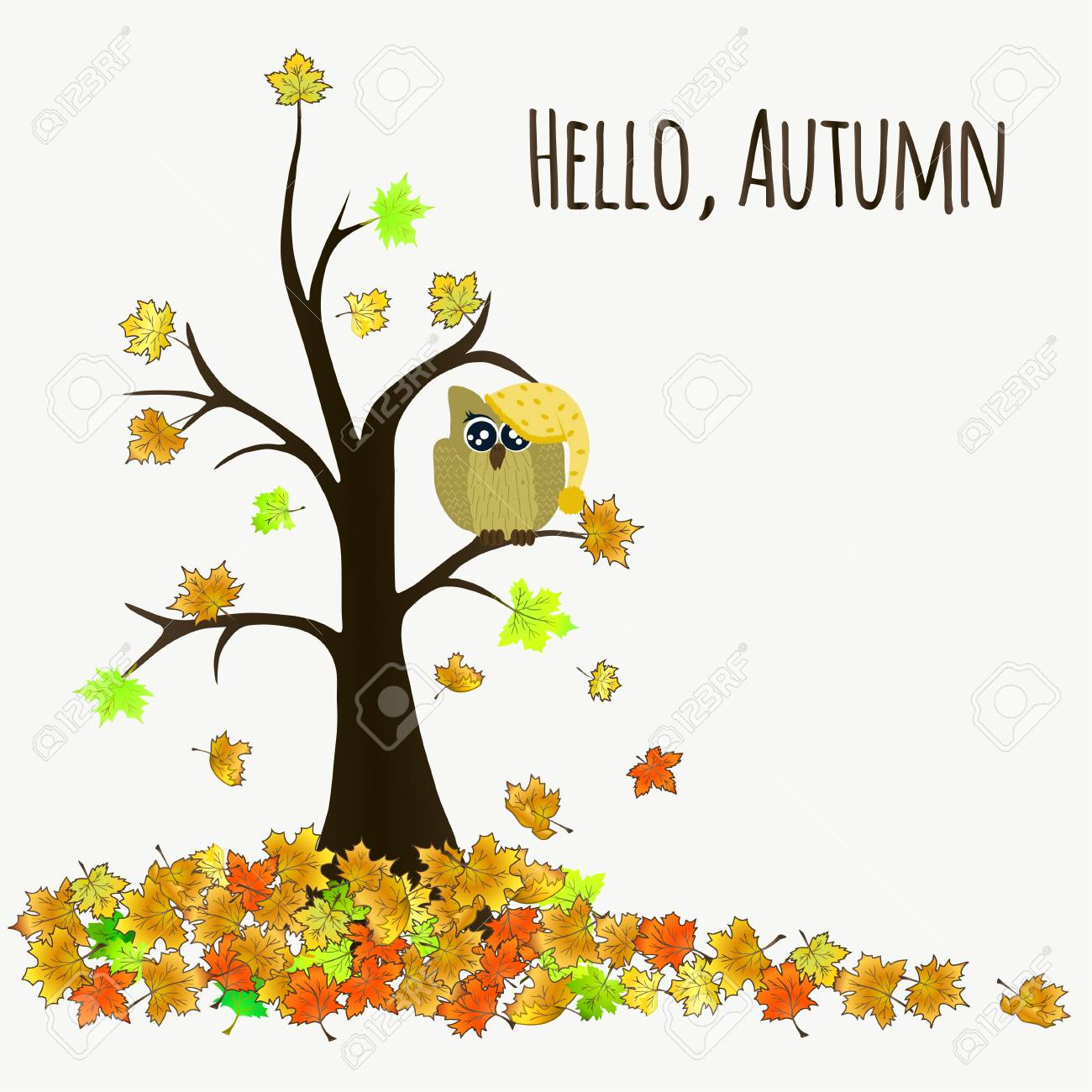 Tree With Cartoon Owl And Falling Maple Leaves For Greeting Royalty Free Cliparts Vectors And Stock Illustration Image 112319810 Cartoon tree transparent images (6,688). tree with cartoon owl and falling maple leaves for greeting