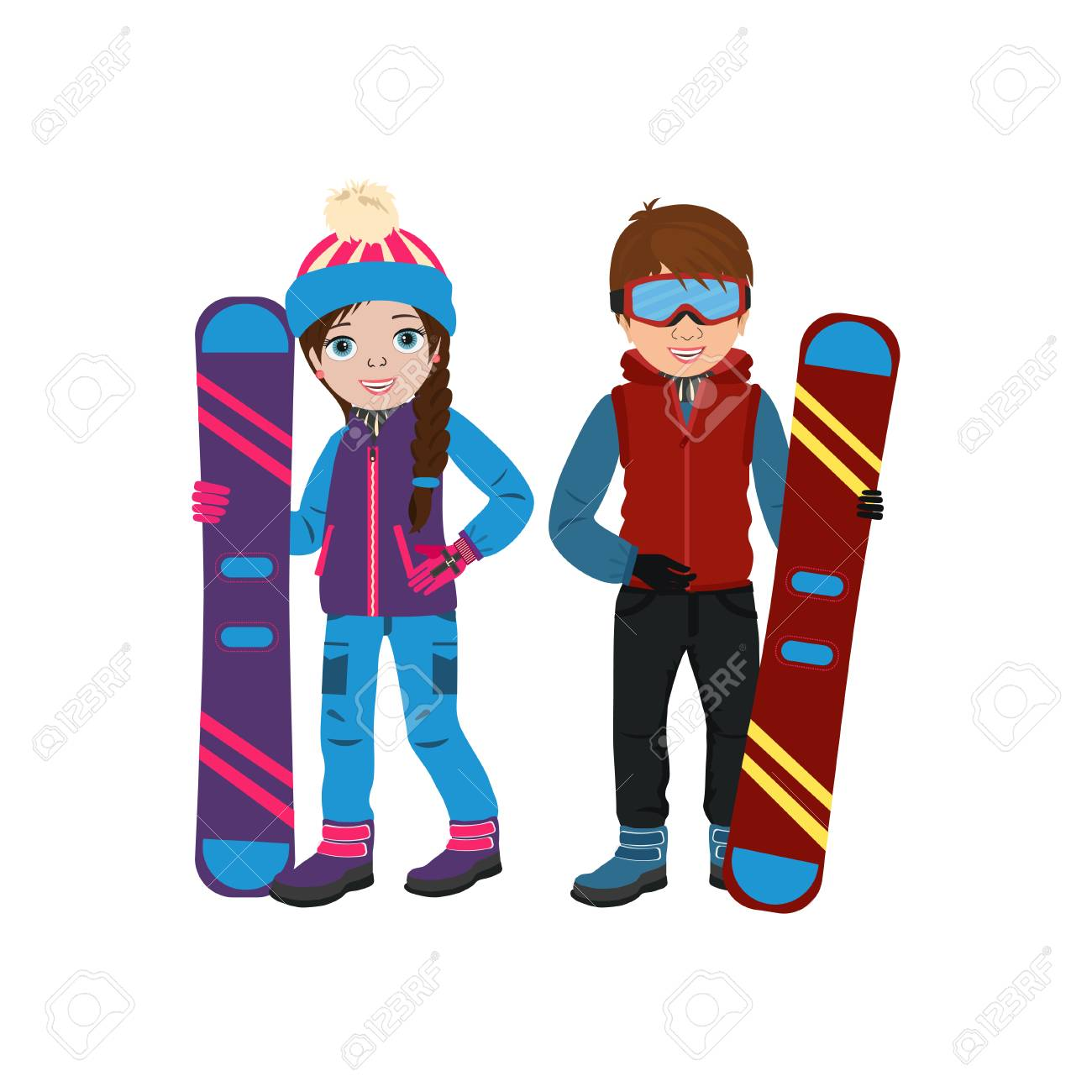 Cute Smiling Boy And Girl In Winter Clothing And With Snowboard Royalty Free Cliparts Vectors And Stock Illustration Image 112821404