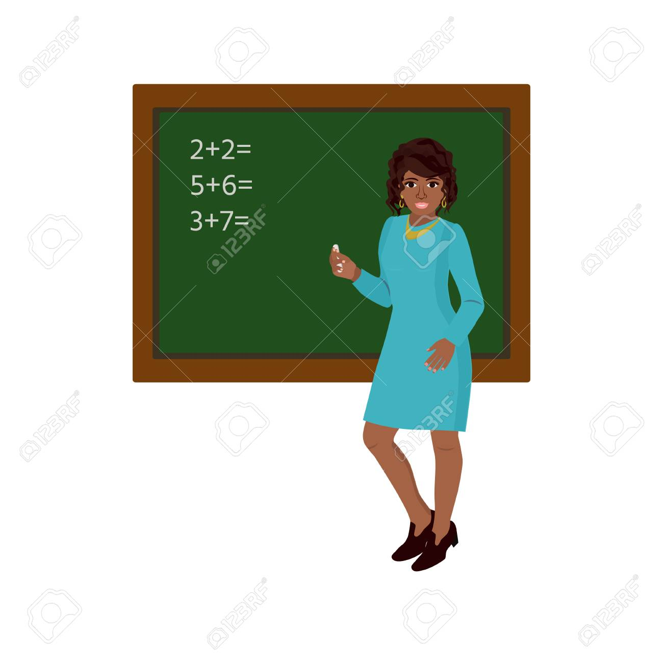 African Teacher, Black Professor Standing In Front Of Blackboard.. Royalty  Free Cliparts, Vectors, And Stock Illustration. Image 71137252.