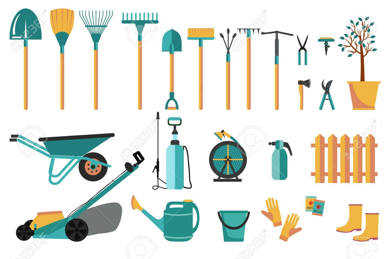 Set Of Various Colorful Gardening Tools Flat Design Illustration Royalty Free Cliparts Vectors And Stock Illustration Image 113933587