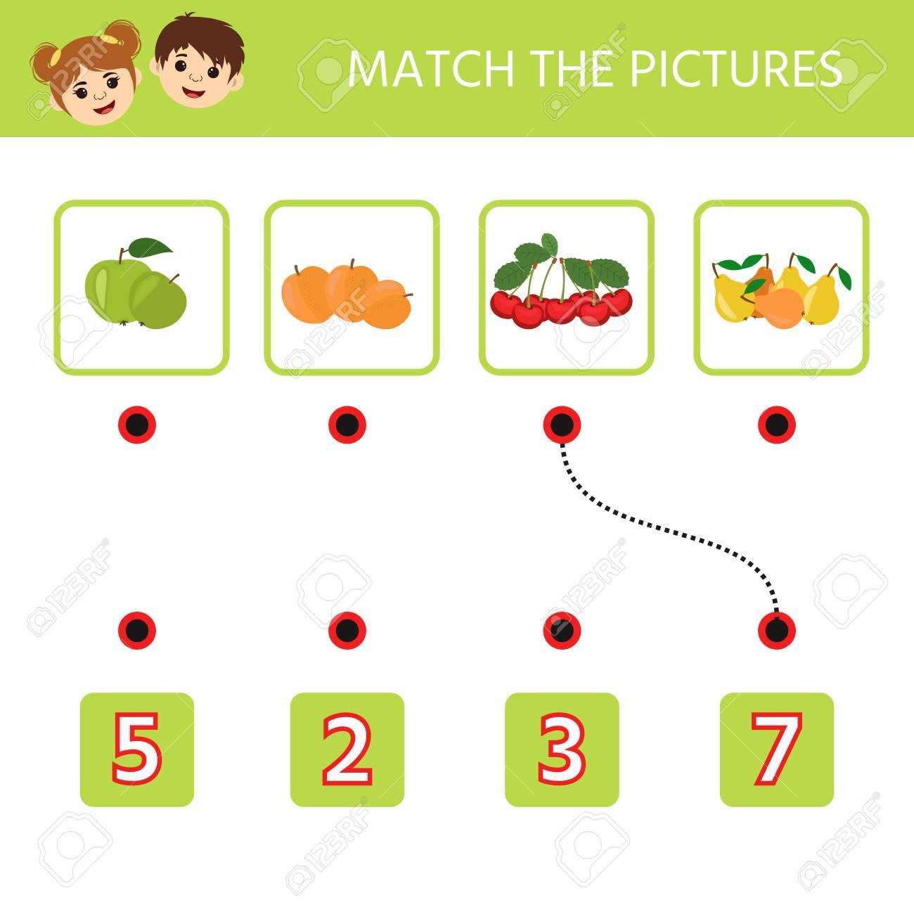 Education logic game for preschool kids. Kids activity sheet...