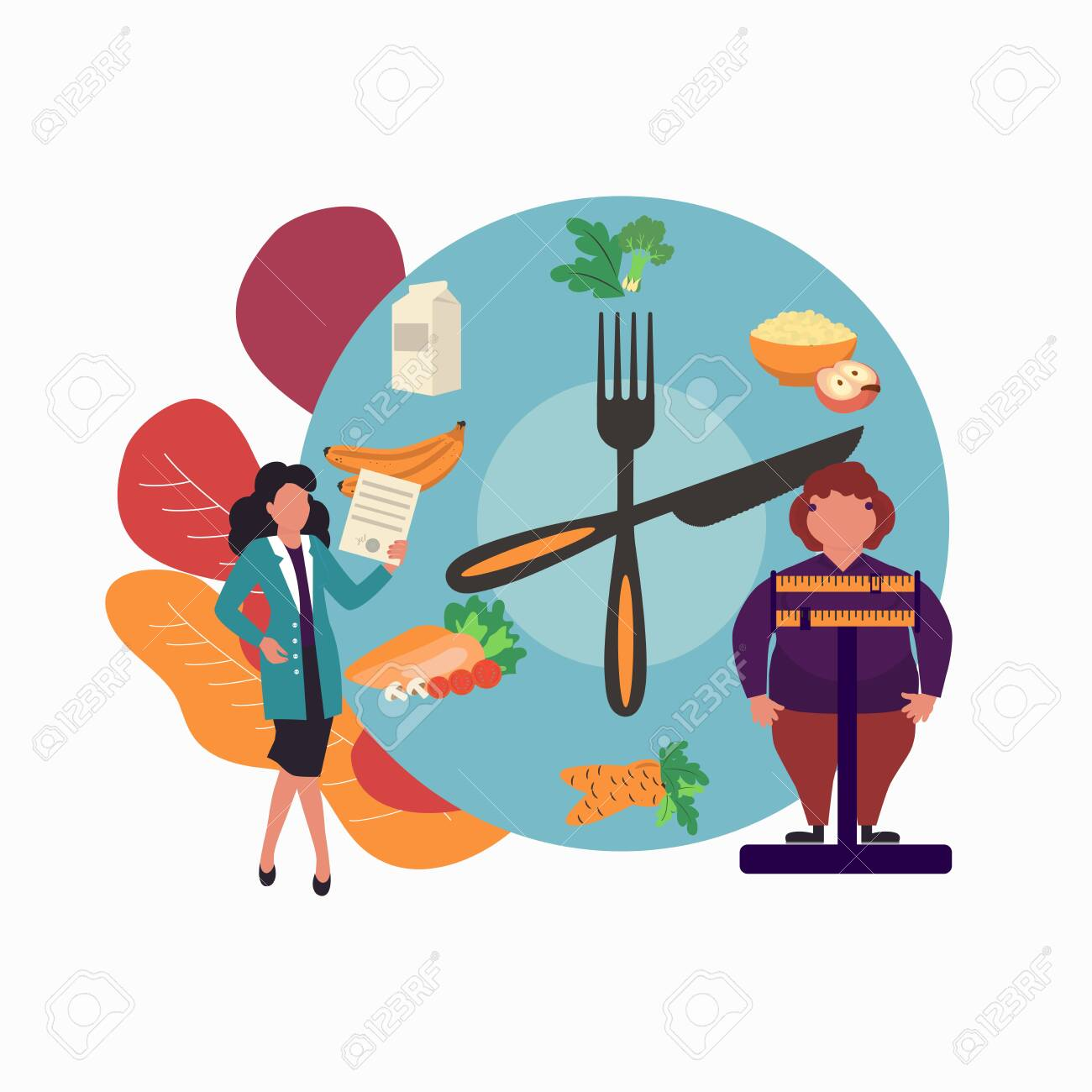 Fat Obese Woman On Scales And Doctor Showing Obesity Deseases Royalty Free Cliparts Vectors And Stock Illustration Image 126053602