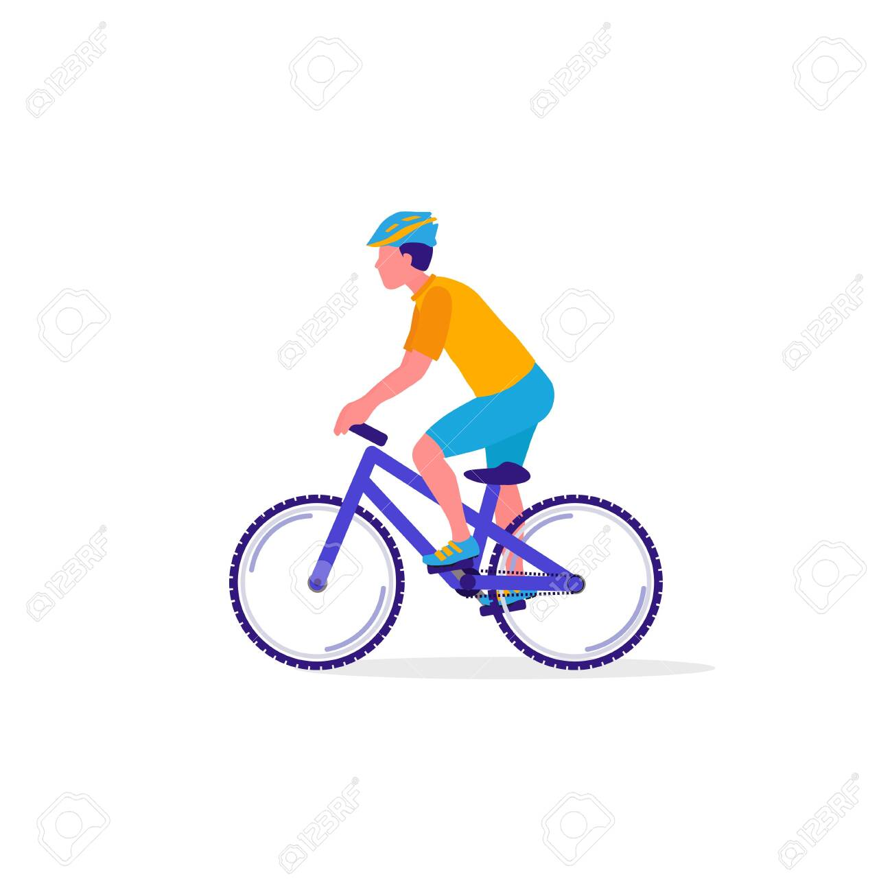 Cyclist on bicycle. Sport, Leisure Activity concept. Healthy lifestyle and fitness. Vector Illustration - 142775985