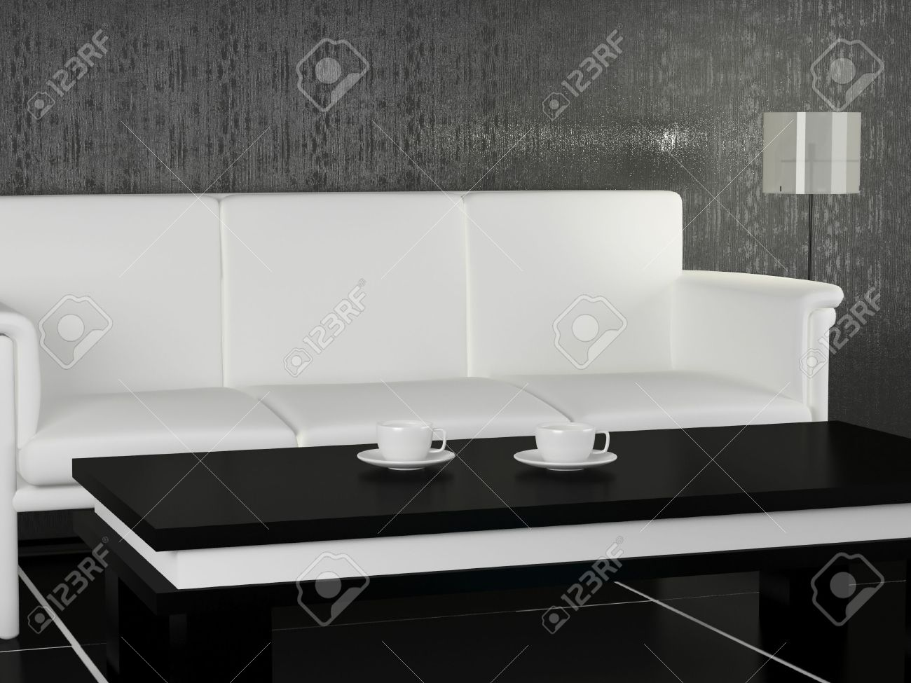 White Sofa And Coffee Table In The Modern Living Room For Coffee