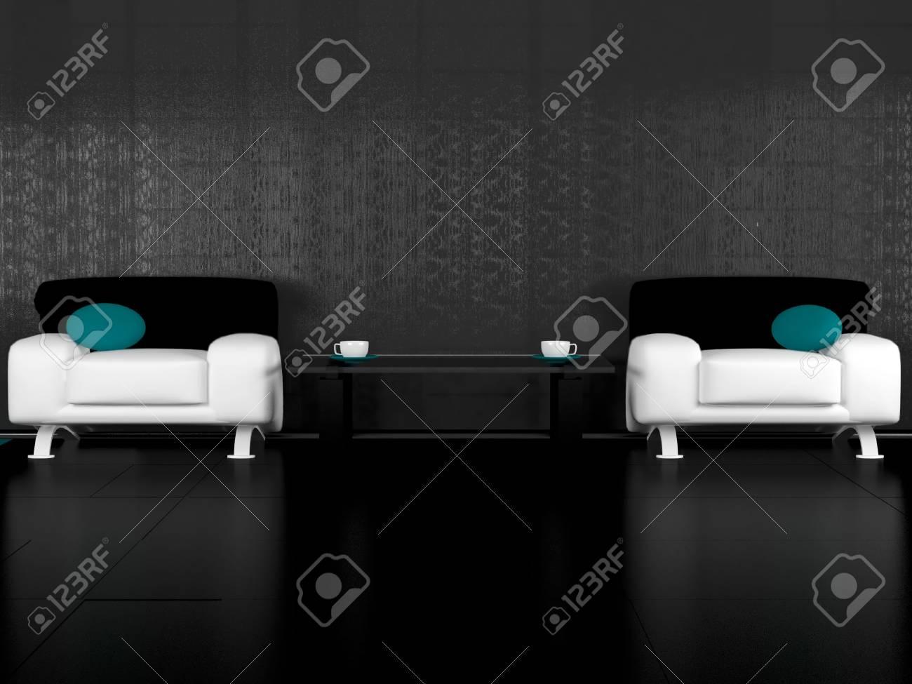 Modern Living Room For Coffee Break 3d Illustrations Stock Photo