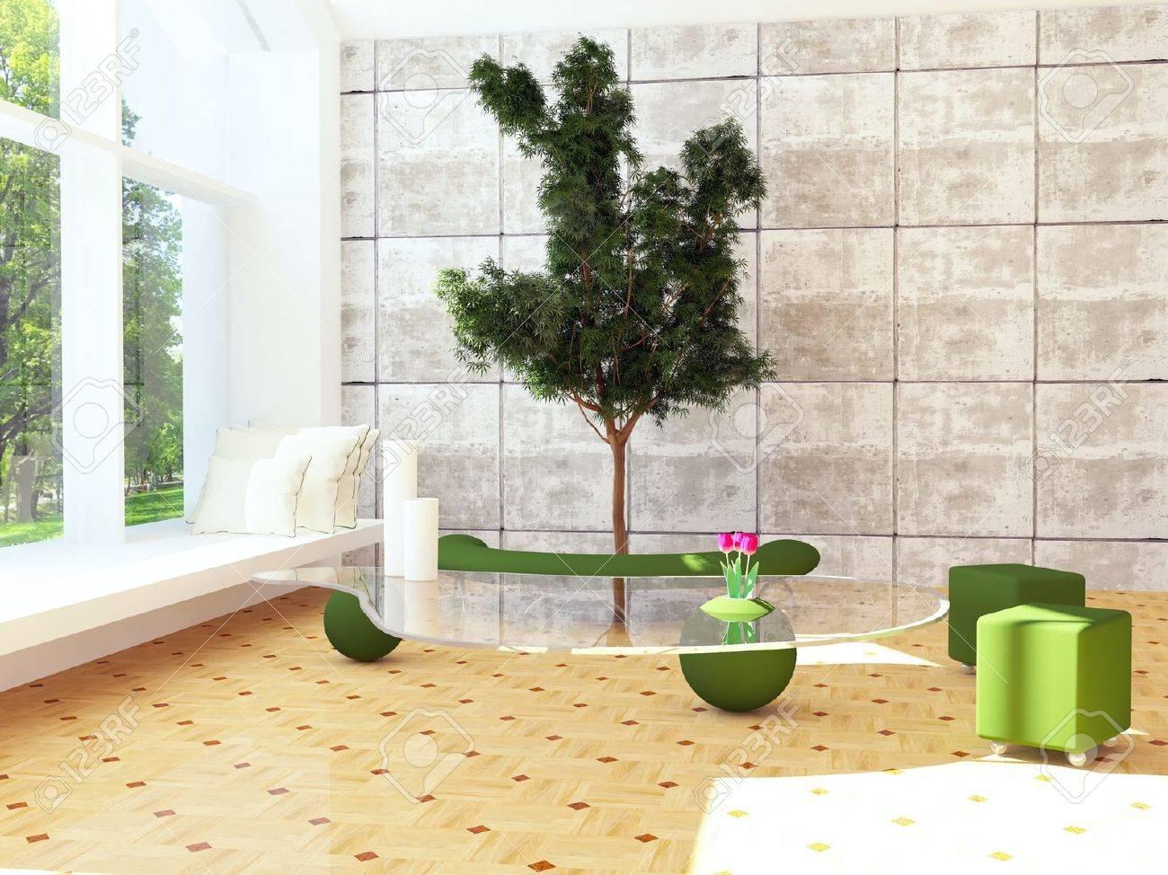 Modern Interieur Scène Met Een Boom Binnen, 3d Render Royalty-Vrije ...