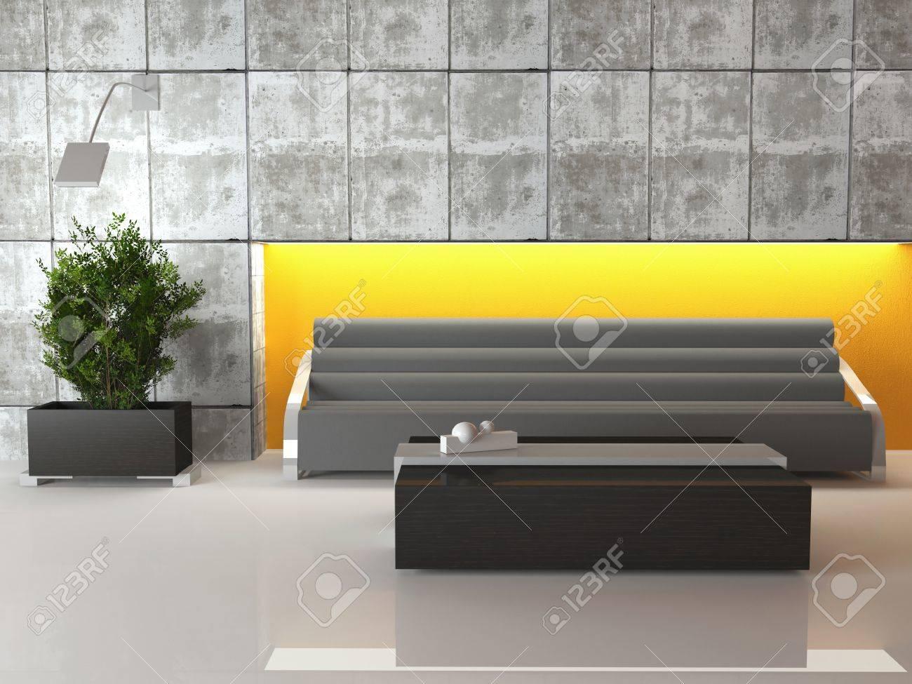 Scène du design de salon ultra-moderne, 3d rendre avec mes propres modèles