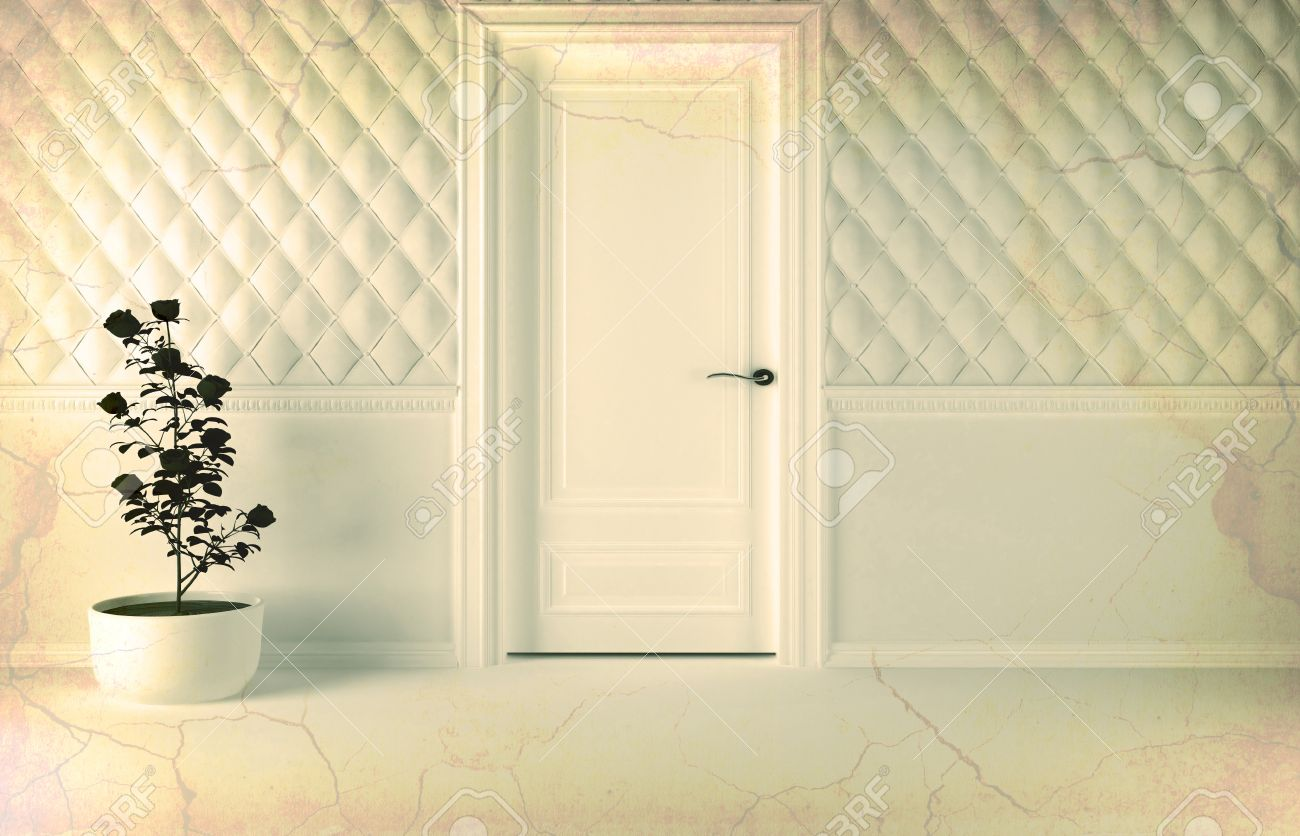 Classic Door Design lorenzos doors Classic Interior Design Scene With A Door And A Plant Effect Of Aged 3d