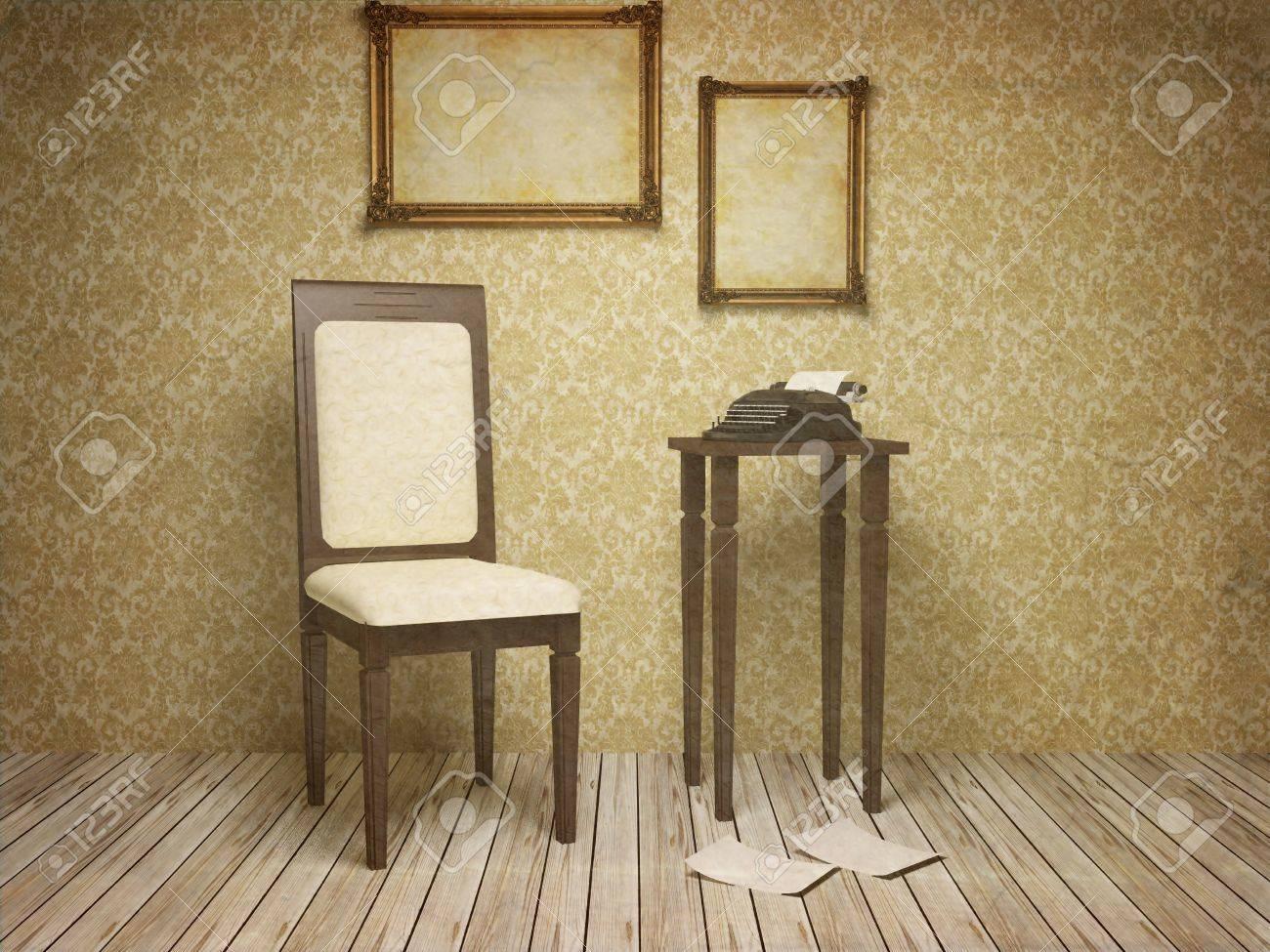Classique Interieure Antique Avec Une Chaise Table Cadres Et