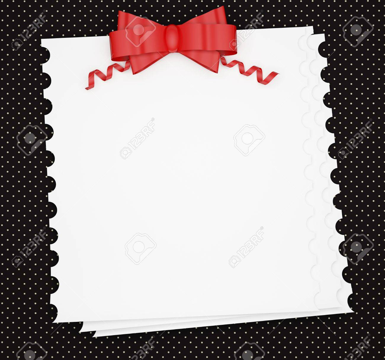 Vintage Wedding Holiday Paper Background With Red Bow White