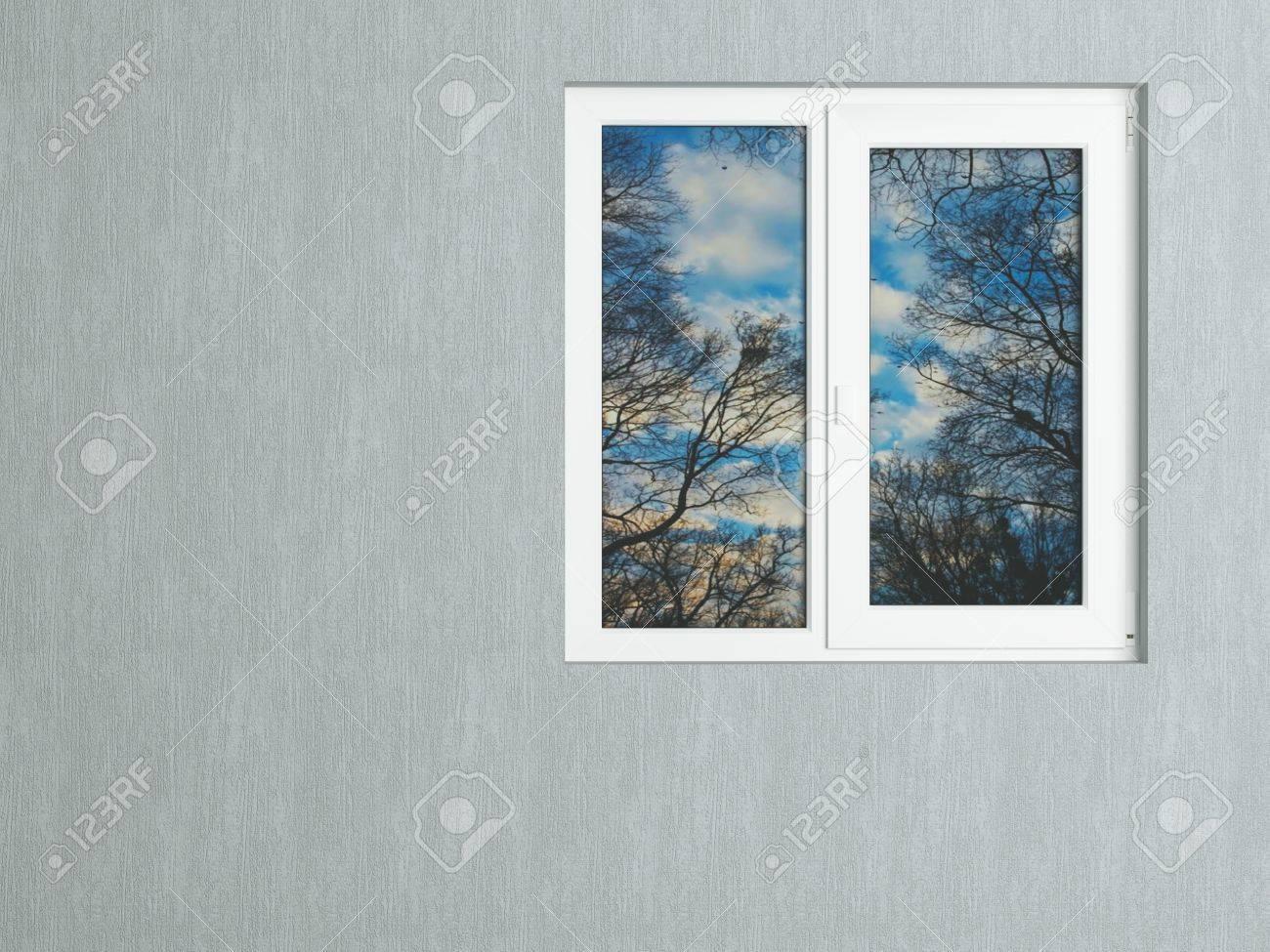 Attraktiv Graue Wand Und Weiße Fenster Spiegelt Die Natur. Haus Außen. Standard Bild