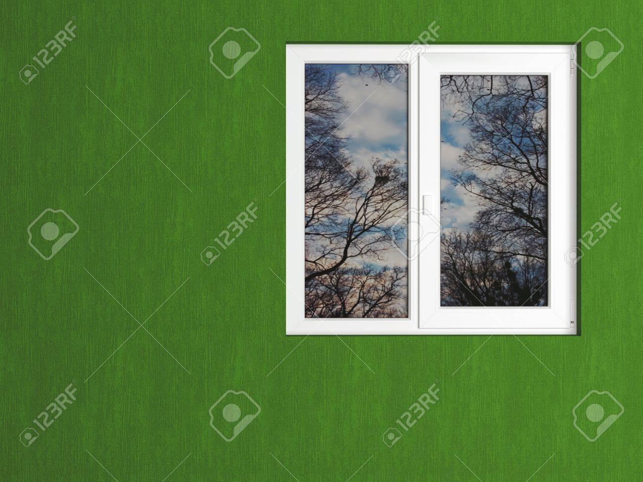 Grüne Wand Und Weiße Fenster Spiegelt Die Natur. Haus Außen. Standard Bild