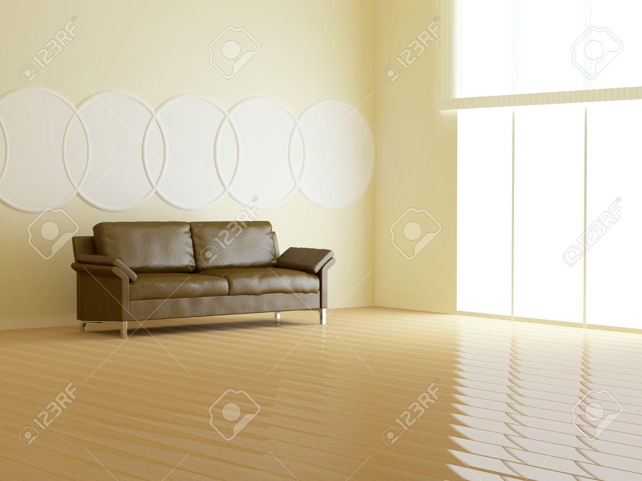 Design d'intérieur de salon moderne, canapé en cuir dans le salon ...