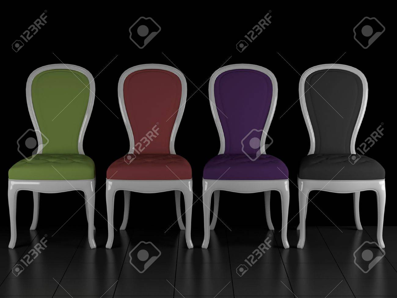 four classic chairs in the dark room, 3d render/illustration stock