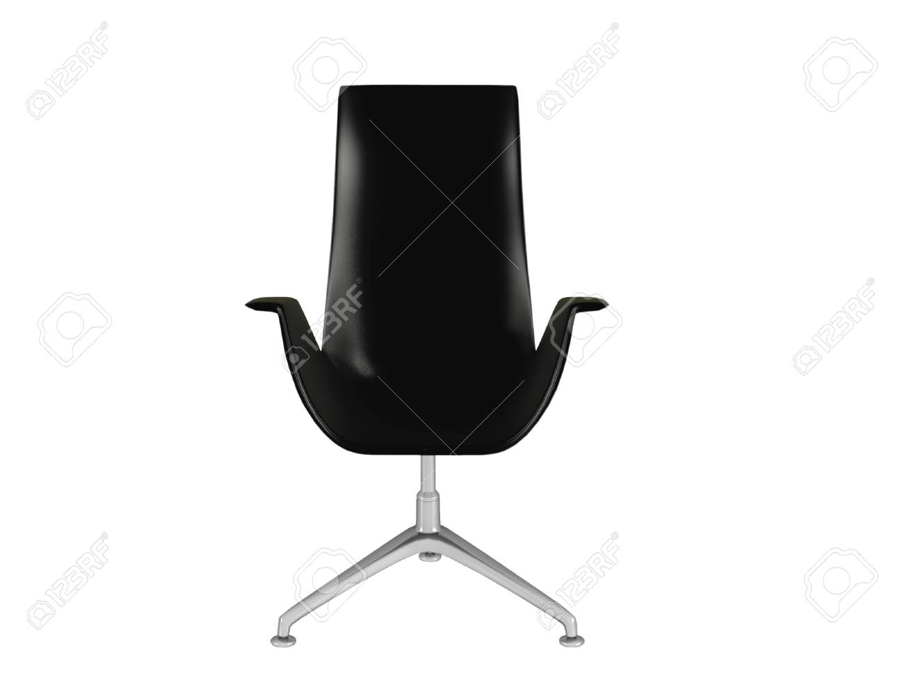 Fauteuil de bureau noir isolé sur le fond blanc illustration 3d