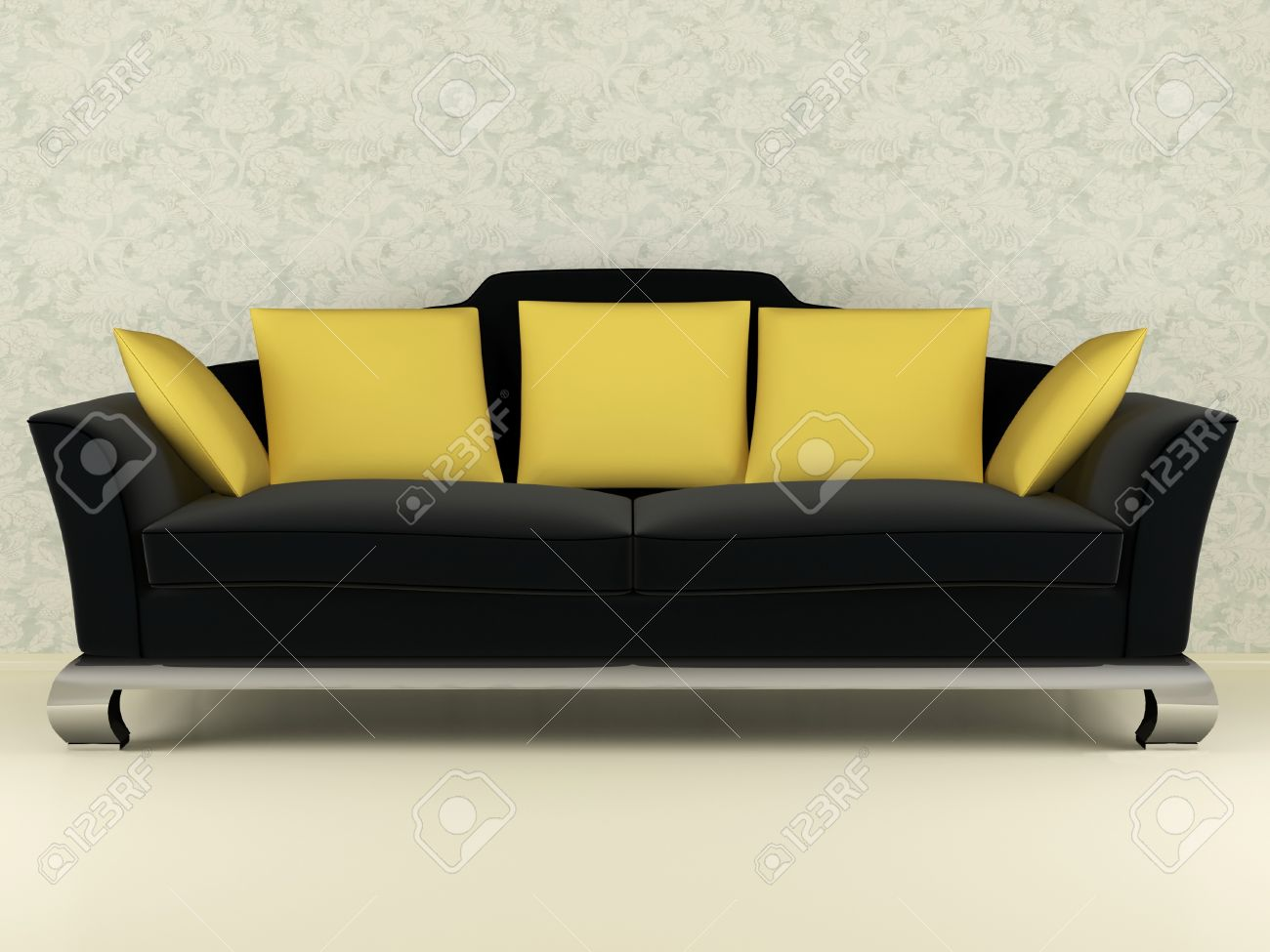 Modern Black Sofa With Yellow Pillows Indoor, 3d Render/illustration ...