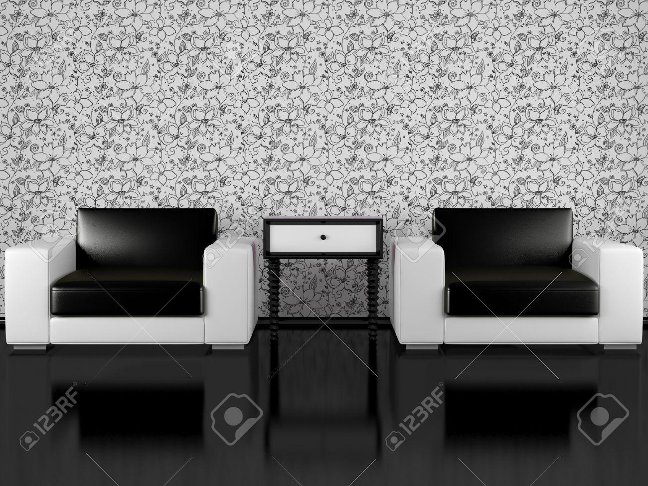Modernes Interieur Aus Wohnzimmer, Moderne Sessel Mit Nachttisch In Schwarz  Und Weiß Wohnzimmer Mit Floralen