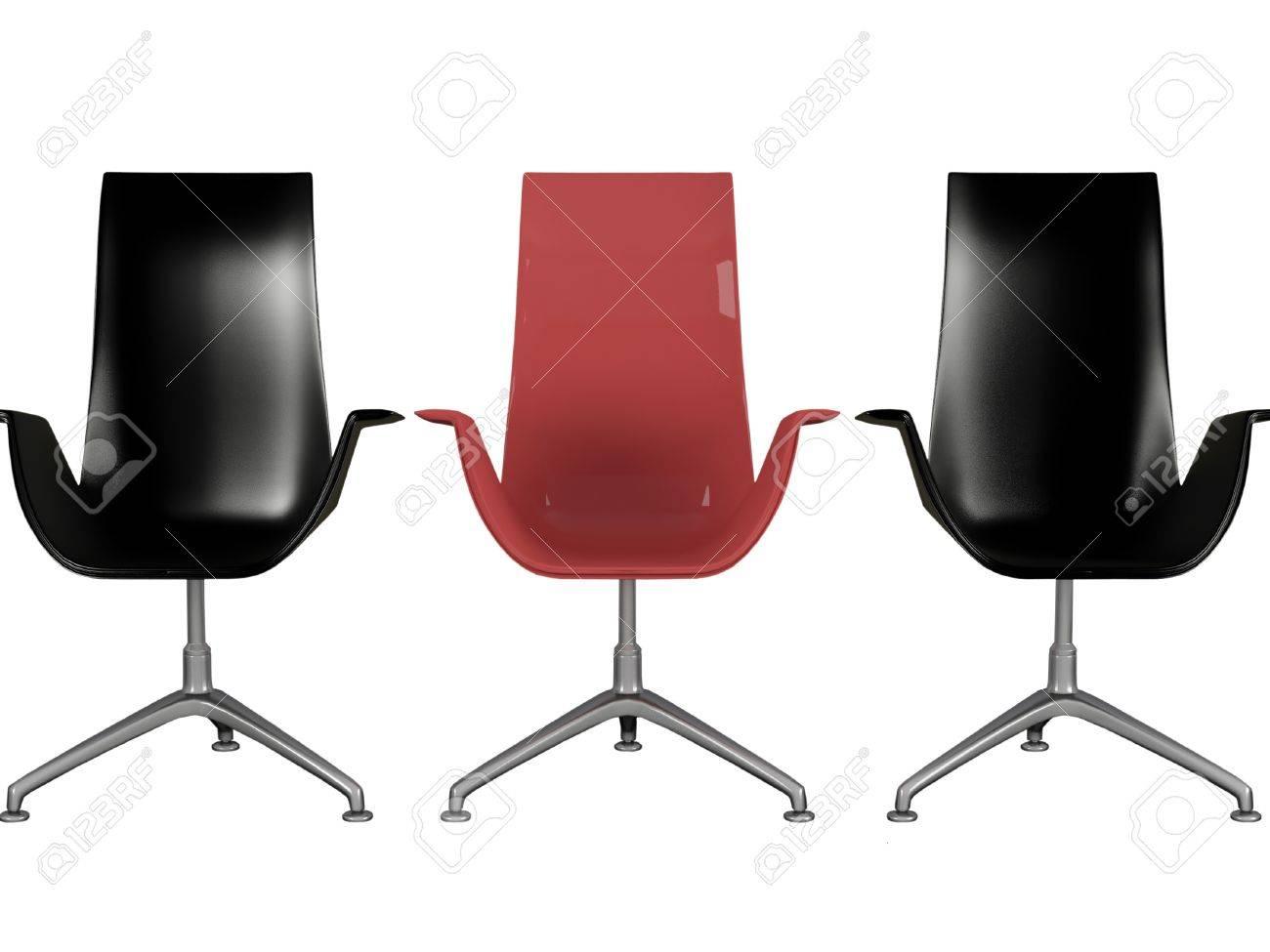 Trois fauteuils de bureau moderne en noir et rouge isolé sur blanc