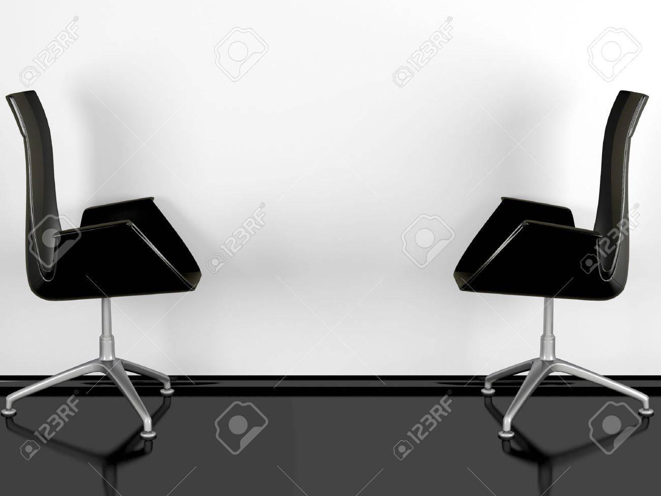 Deux fauteuils de bureau noir intérieur noir brillant plancher un