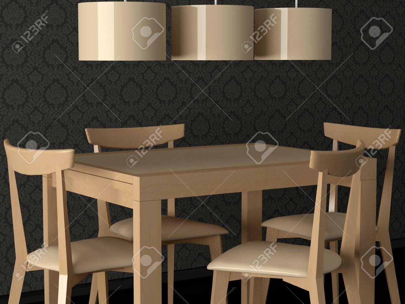 Banque Dimages Intrieur Design De La Salle Manger Moderne Eleganse Table  Manger En Bois Rendu With Table A Manger Moderne En Bois