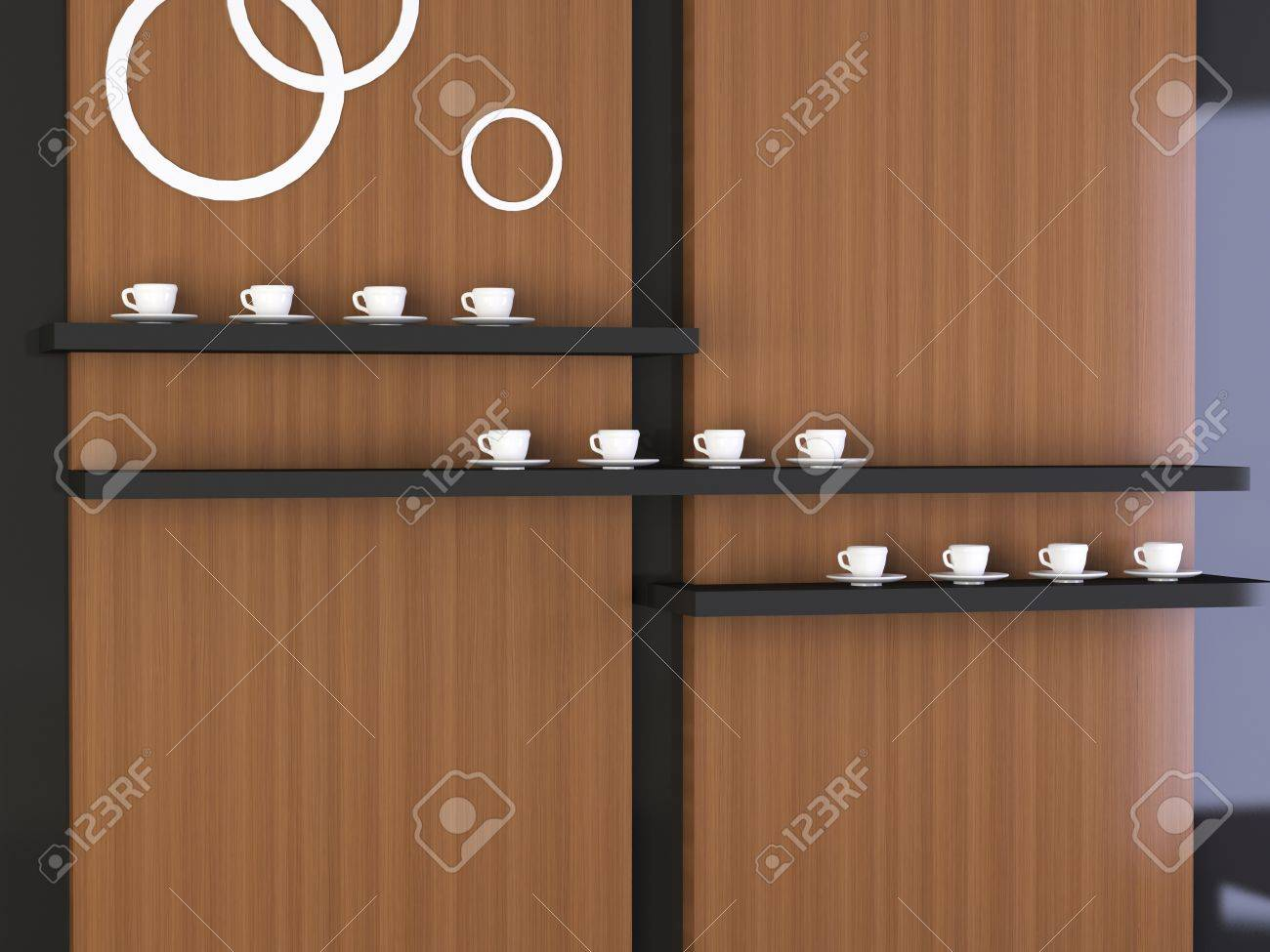 Nice composition, modern  design of wall, many coffee cups on the shelf Stock Photo - 15070890