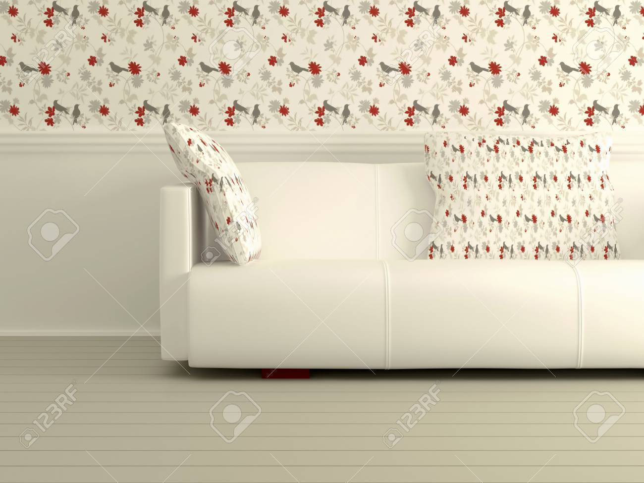 Part of the modern interior with white sofa, interesting floral wallpaper, 3D rendering Stock Photo - 15152171