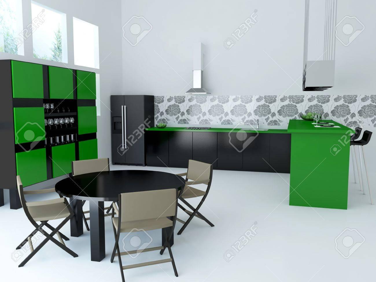 Interior of modern large kitchen, 3d render Stock Photo - 15152163