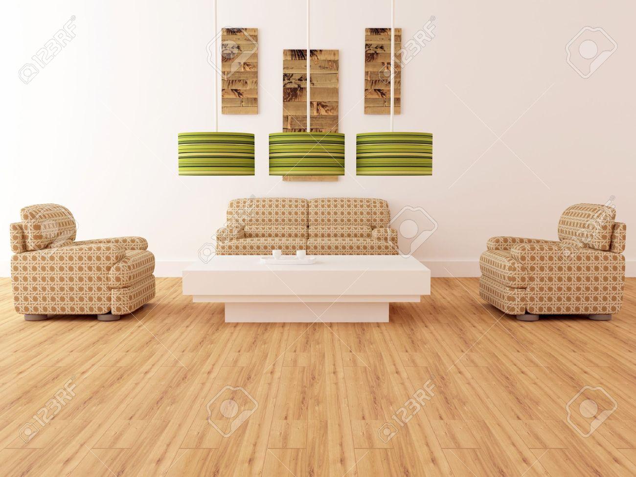 Design interiör av elegans modernt vardagsrum, bruna fåtöljer med ...