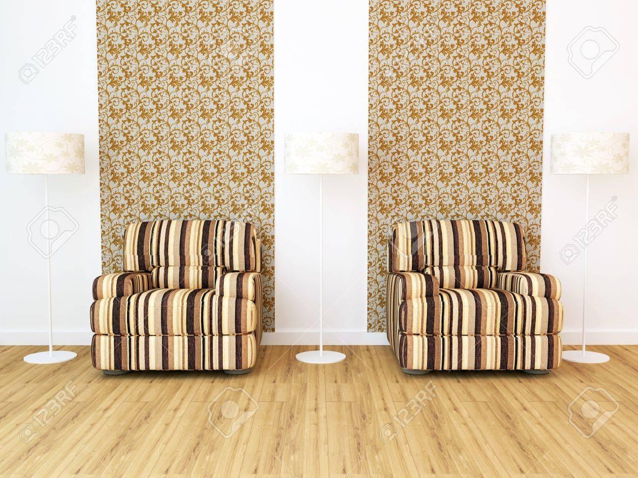 Design interieur van elegantie moderne woonkamer, bruine sofa's ...
