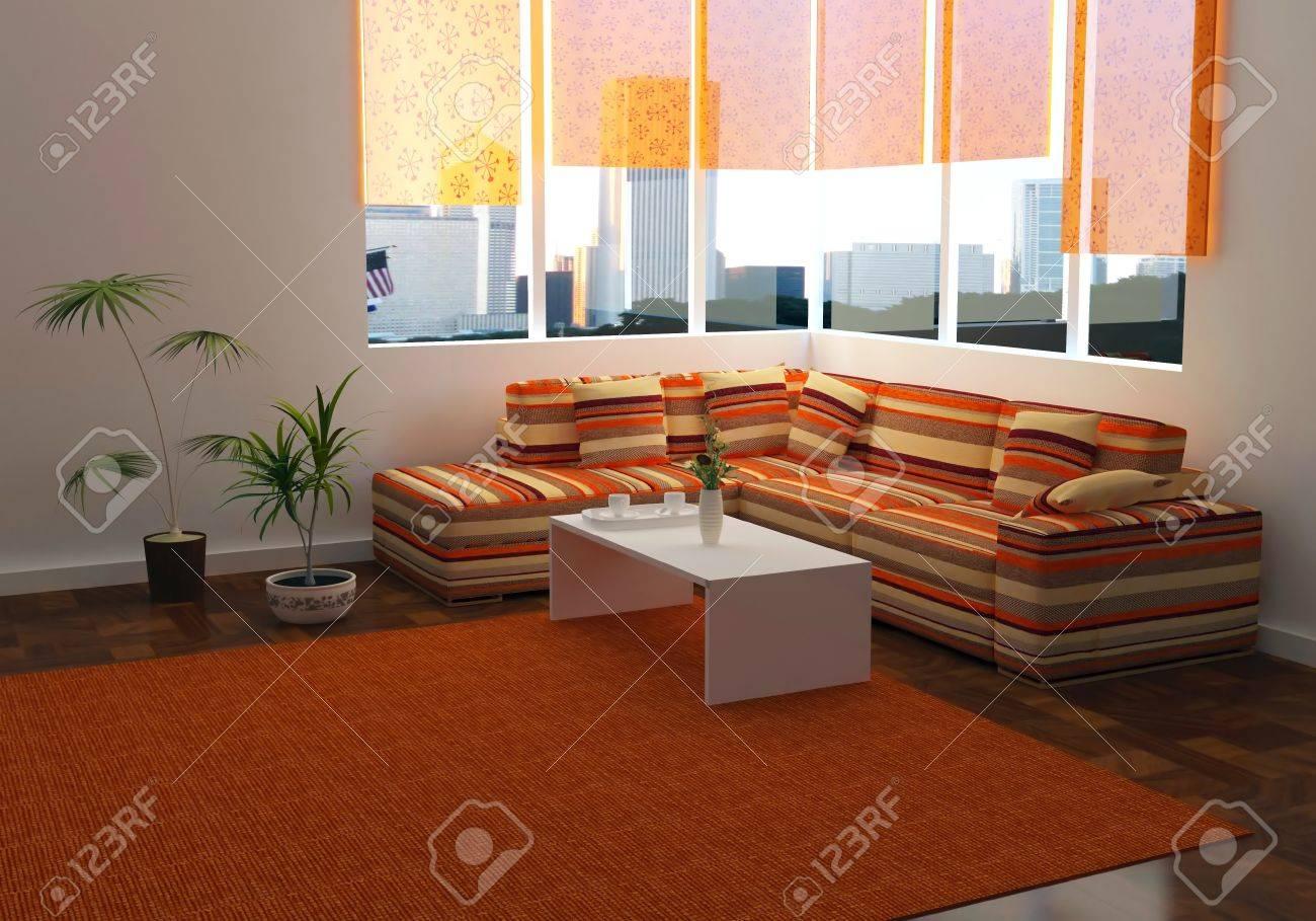 Design Interiör Av Elegans Modernt Vardagsrum Med Vacker Utsikt ...