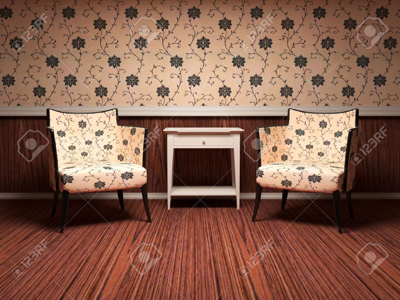 Interior Design Der Modernen Wohnzimmer, Holzboden, Florale Tapete ...