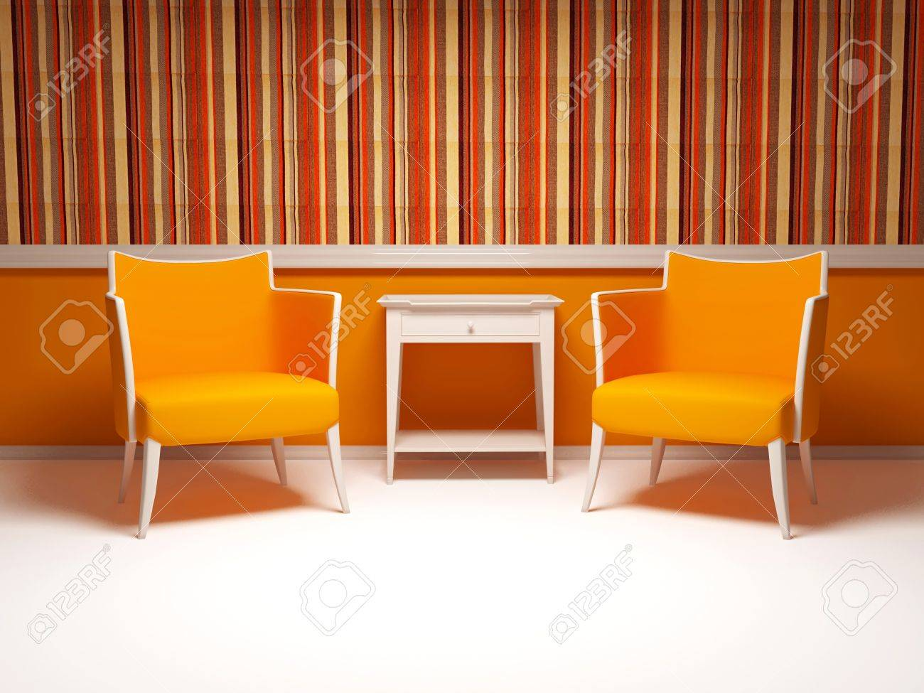 Design d'intérieur de salon moderne, deux fauteuils rouges ...
