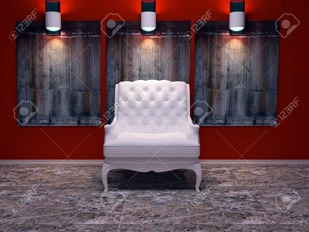 Moderne Innenarchitektur, Schöne Komposition Mit Lampen, Weiß ...