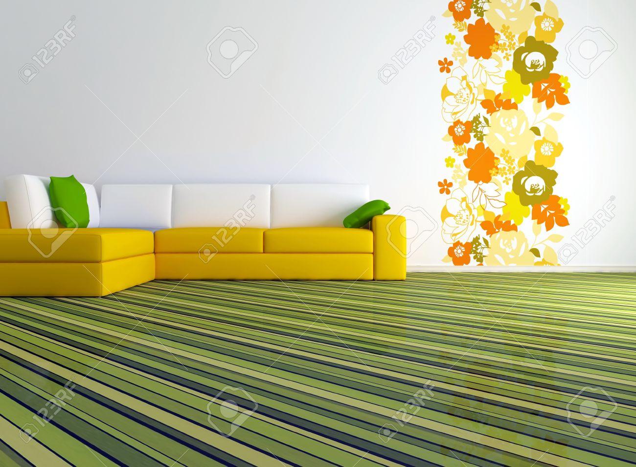 Licht interieur ontwerp van moderne woonkamer met grote gele bank ...