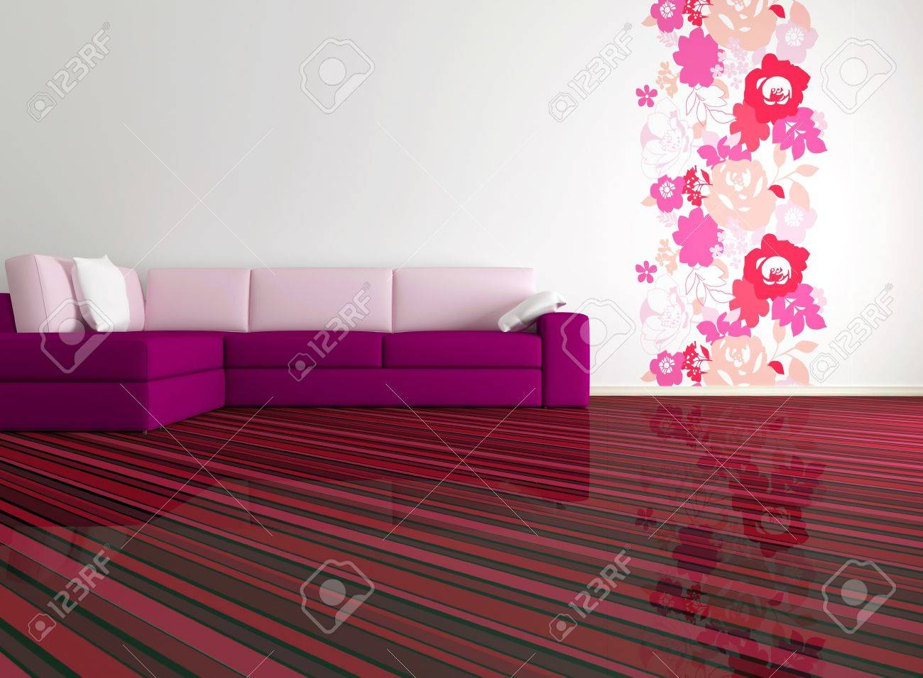 Bright Interior Design Of Modern Living Room With Big Pink Sofa