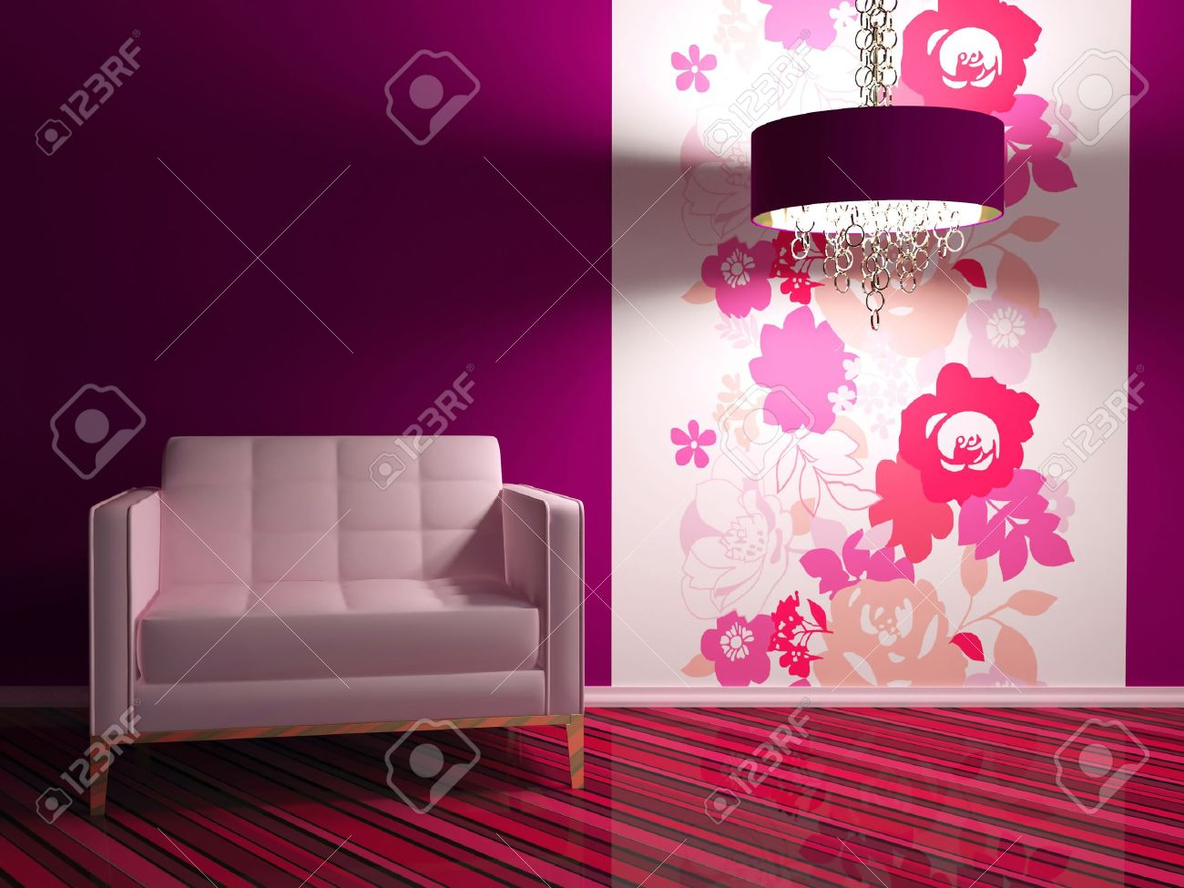 Bright interior design of modern living room with big pink ...