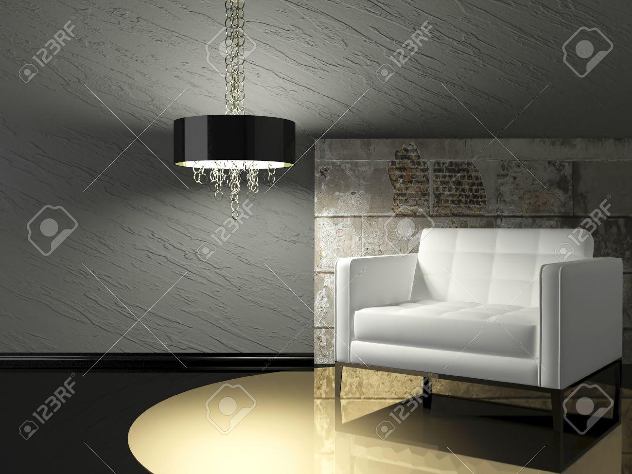 Dark design intérieur de salon moderne avec fauteuil blanc et mur ...