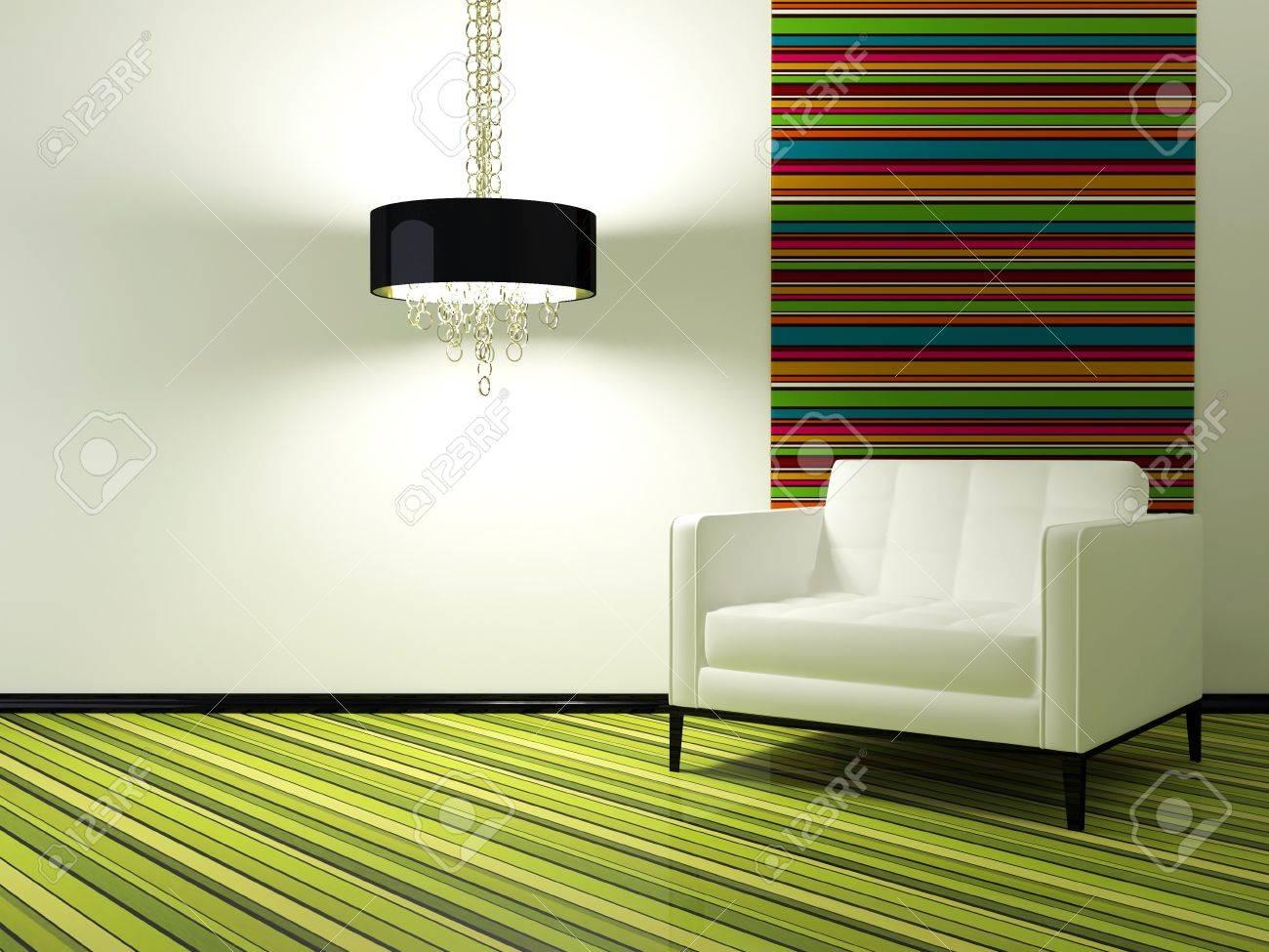 Design d\'intérieur de salon moderne avec fauteuil blanc, 3d render