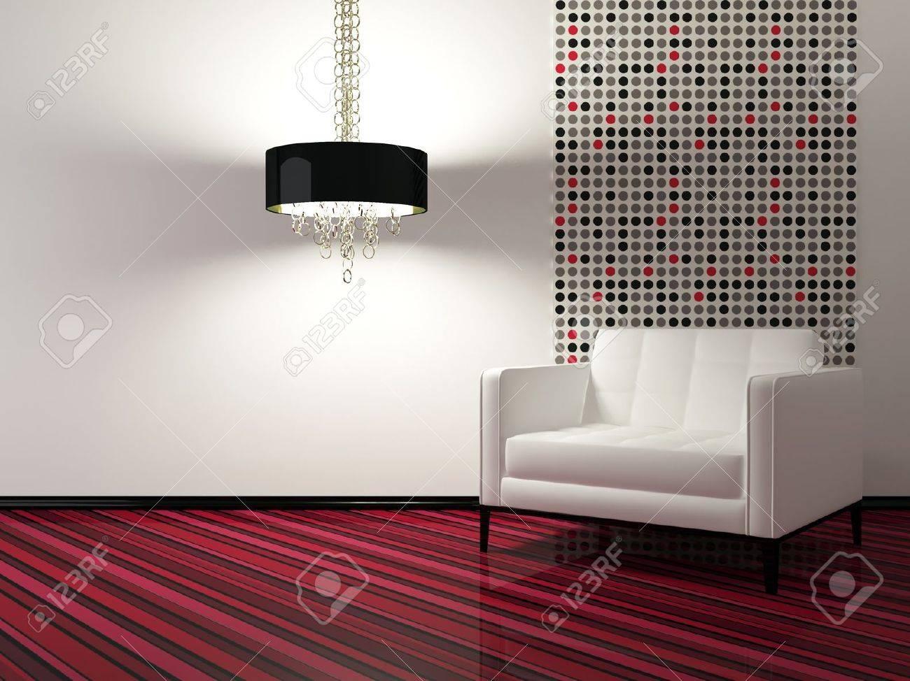 Design d'intérieur de salon moderne avec fauteuil blanc, 3d render ...