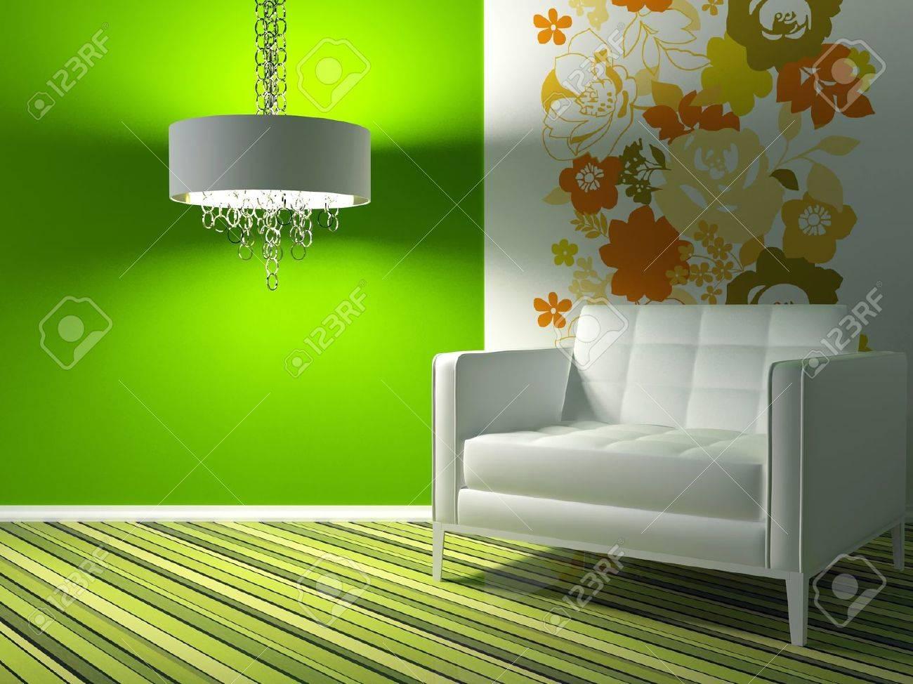 Design d'intérieur de salon moderne vert avec fauteuil blanc, 3d ...