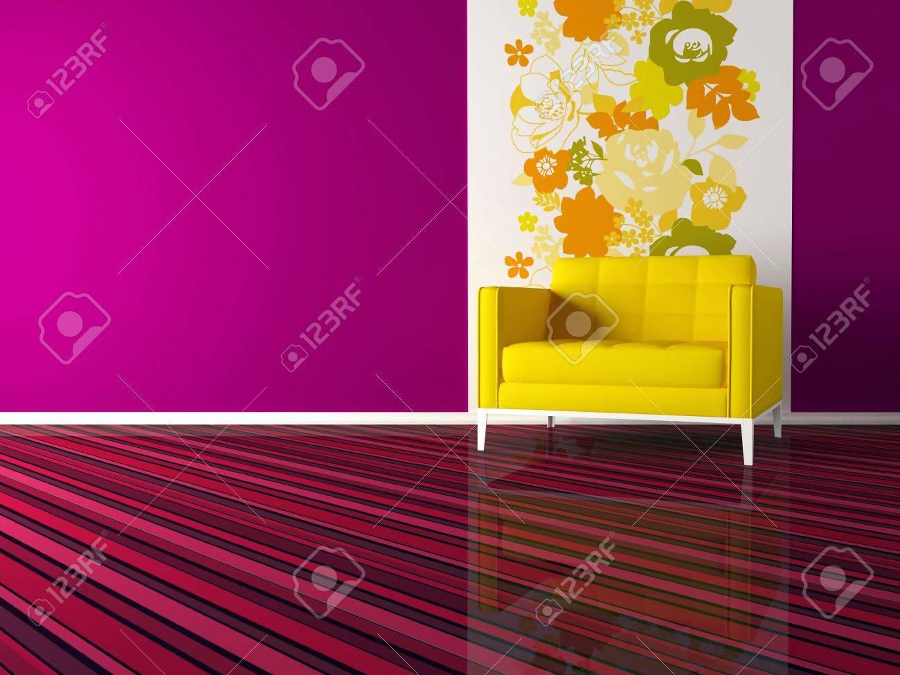 Helle Innenarchitektur Der Modernen Rosa Wohnzimmer Mit Gelben ...