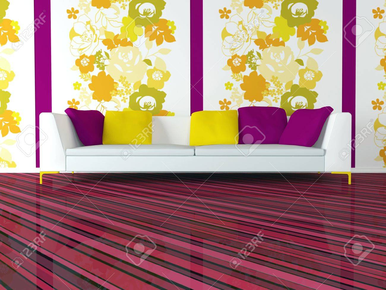 Pink Living Room Furniture Bright Interior Design Of Modern Pink Living Room With Big White