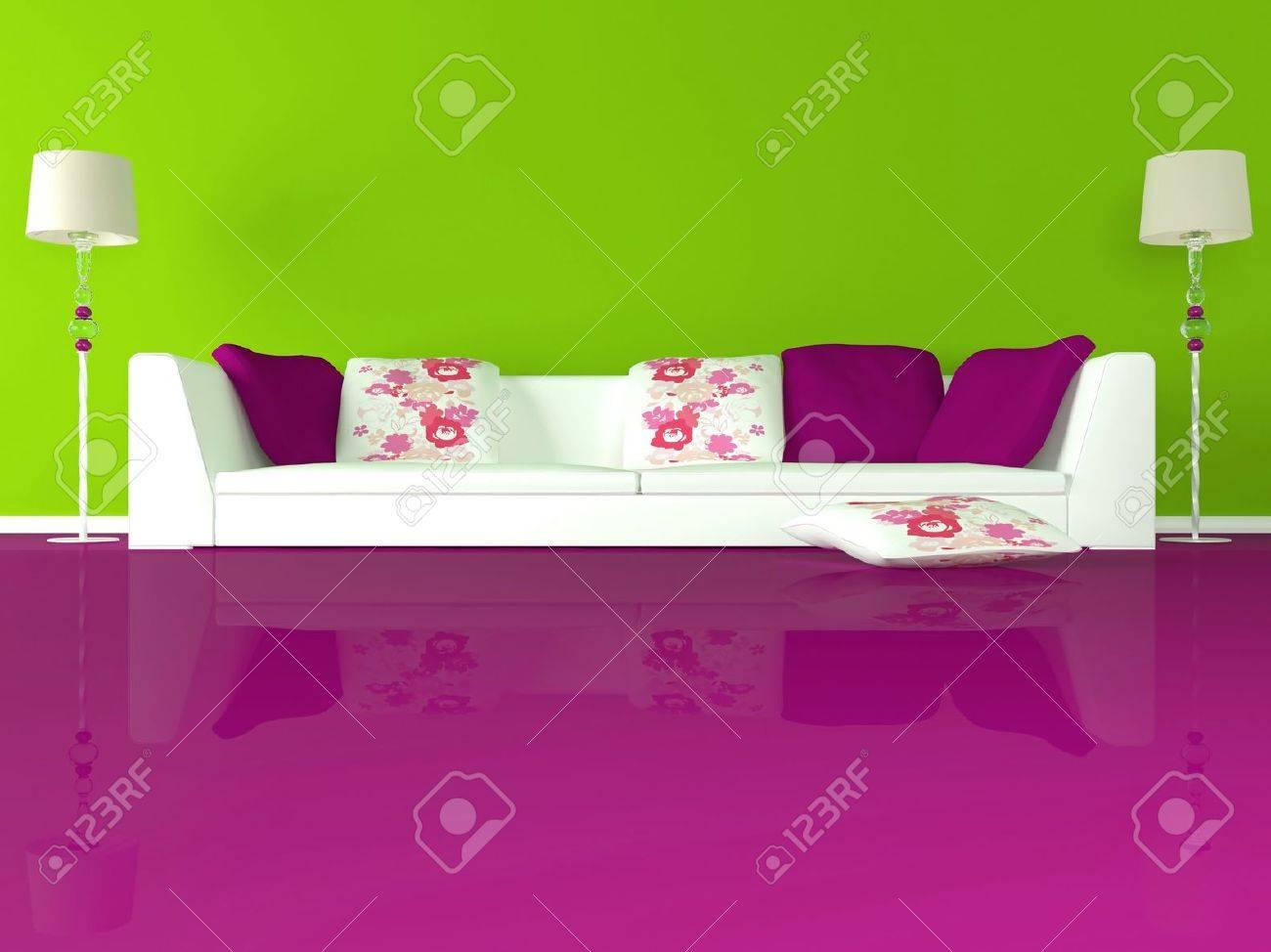 Inredning av modern grön vardagsrum med stora vita soffa och rosa ...