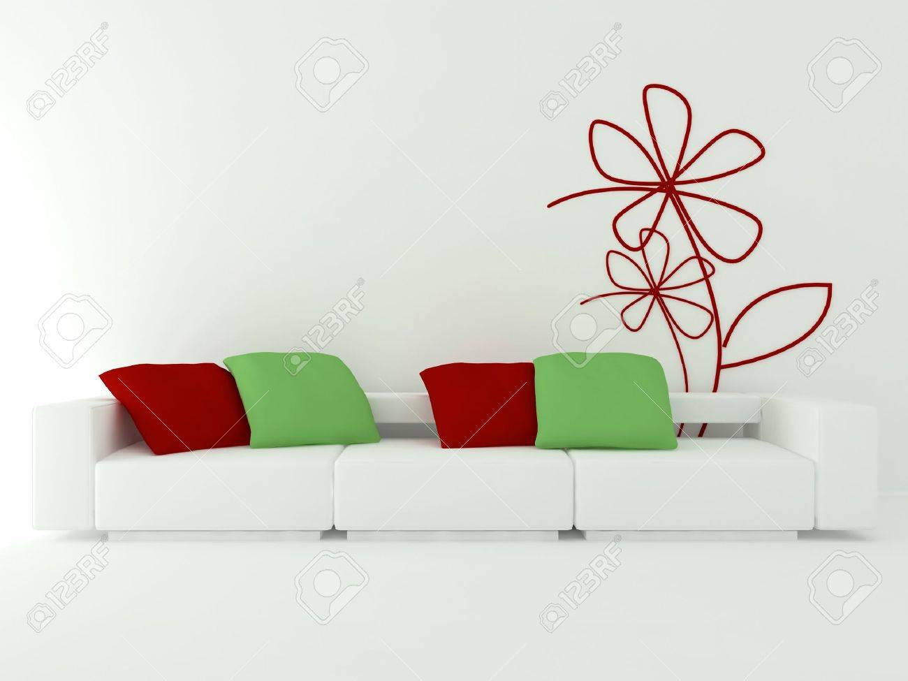 Interior Design Of Modern White Living Room With Big White Sofa ...