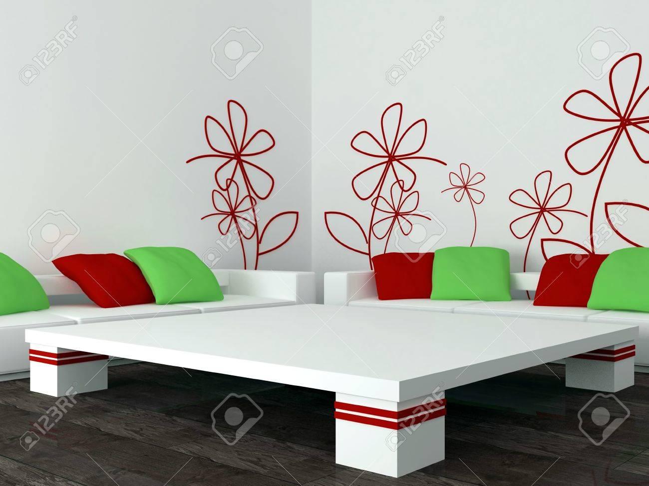 Design d\'intérieur de salon moderne blanc, un salon avec de grands canapés  blancs avec des oreillers rouges et verts, de rendu 3d