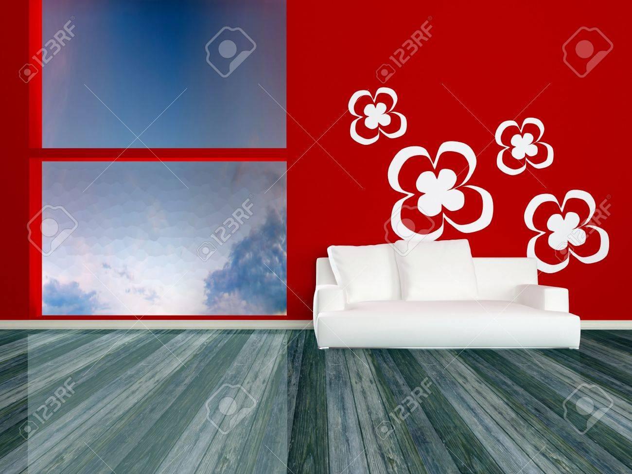 Design Innenarchitektur Von Eleganz Modernen Roten Wohnzimmer Mit ...