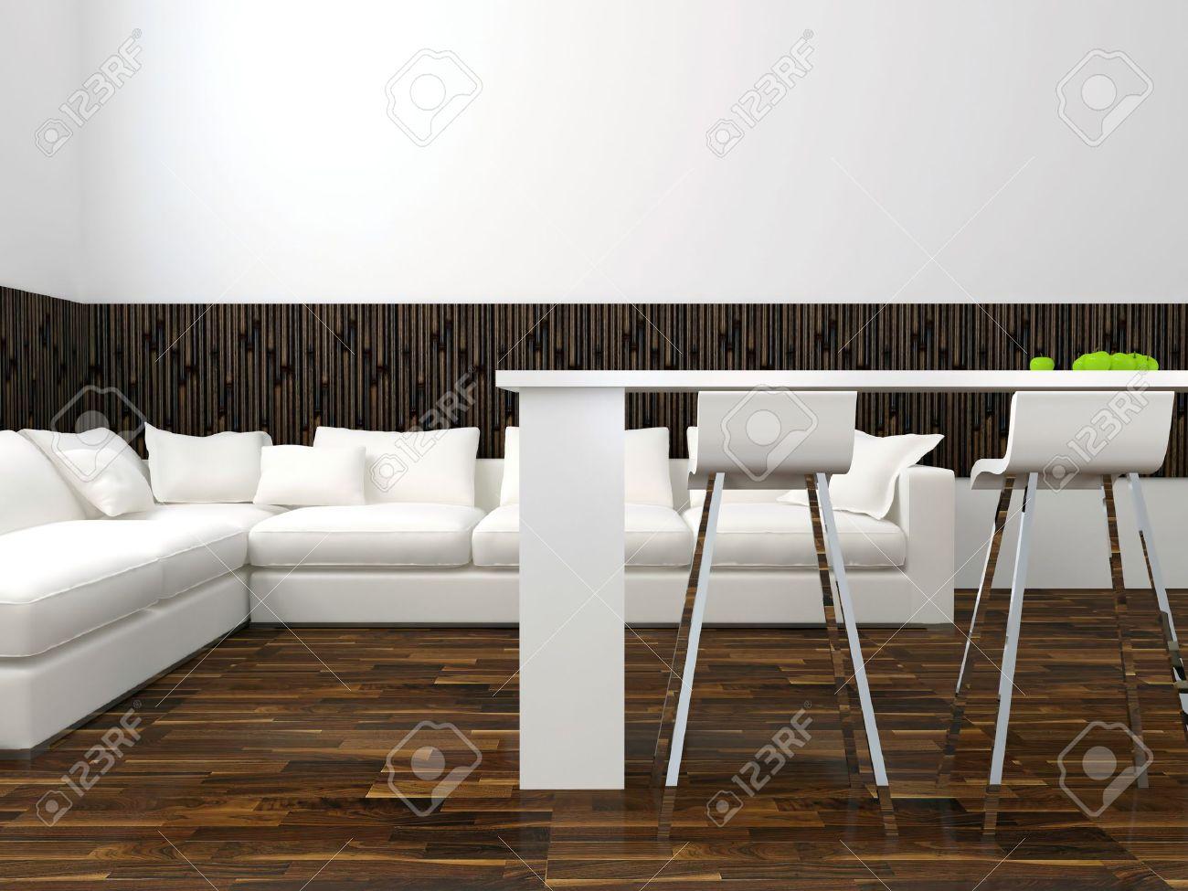 Inredning av modern vit vardagsrum med stora vita soffa, stor ...
